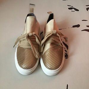 Zuka   Women's Gold Netted Casual Sneaker